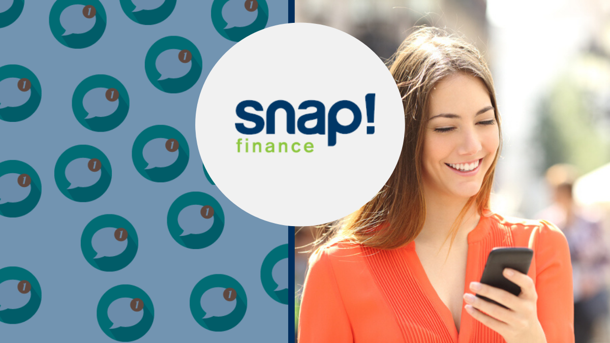 Webio Client Snap Finance logo with picture of woman holding a phone with SMS messaging icons beside her