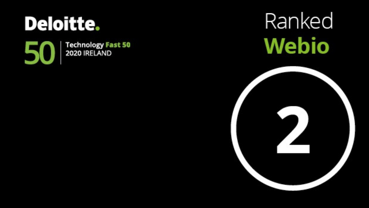 Deloitte technology Fast 50 logo with the number 2 for Webio's ranking in the awards