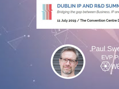 Image of Paul Sweeney from Webio and logo and date for the Dublin IP and R&D Summit