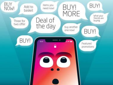 Conversational Interfaces image of a colourful mobile phone with advertising speech bubbles saying 'Buy', Buy More'