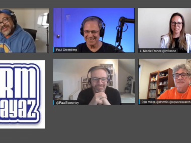 Headshots CRMPlayaz team with Paul Sweeney from Webio and Dan Miller from Opus Research talking about Conversational AI