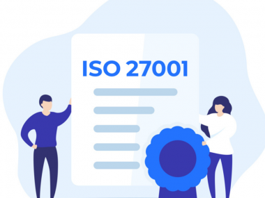 Illustration showing two people standing beside an ISO 27001 certificate that represents Webio getting its accreditation