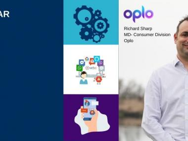 Three icons representing automation, Webio conversational middleware, Customer Collections, Picture of Richard Sharp from Oplo