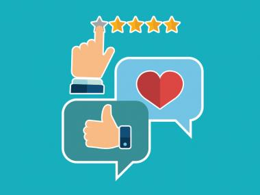 Improving Customer Experiene image.  Two converation bubbles with a thumbs up for 5 star customer experience
