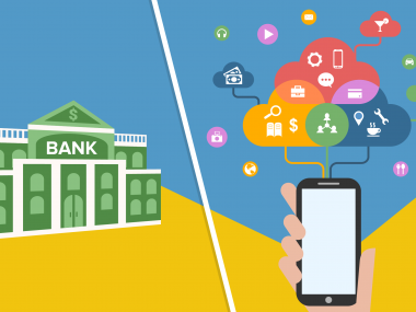 Illustration of a bank alongside a mobile phone with fintech images coming out of it